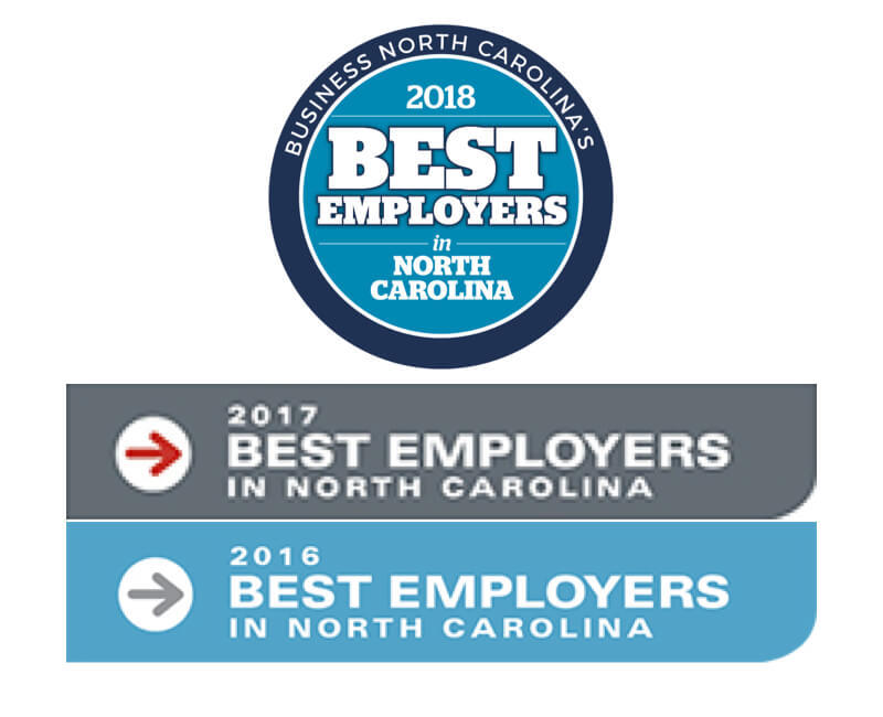 Voted as one of NC's Best Employers by Business North Carolina