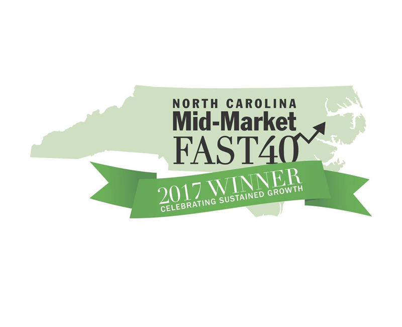 Ranked as one of North Carolina's Mid-Market Fast 40 as published in Business North Carolina